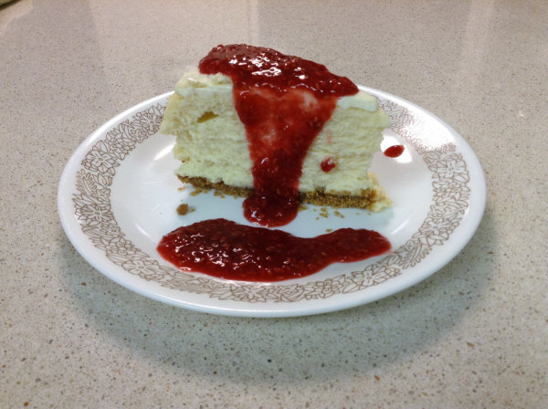 cheesecake serving with raspberry